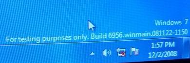 En intern test-versjon av Windows 7.