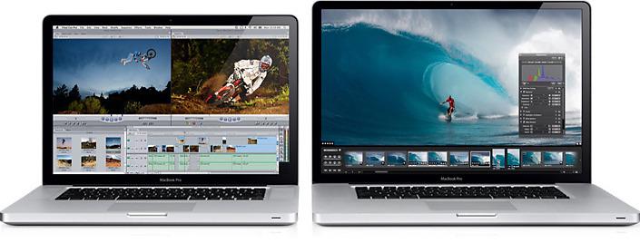 15-tommers MacBook Pro til venstre, 17-tommer til høyre