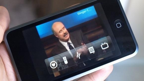 Dr.Phil på iPhone sendt fra TVen til nettet og til slutt ender bildet på mobilen.
