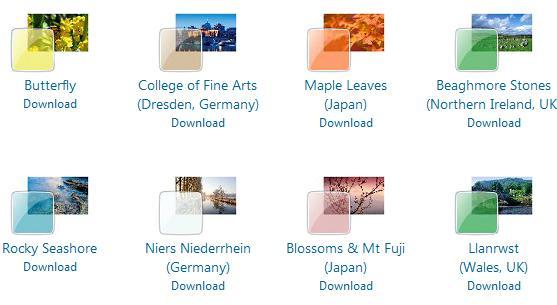 Nettsiden inneholder en rekke temaer til Windows 7.