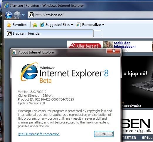 Også Internet Explorer 8 blir tett integrert i Windows 7. Her fra Windows 7 Beta 1.