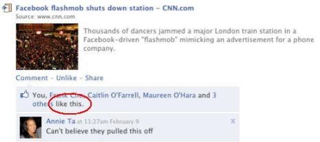 Nå kan du signalisere at du liker noe - på Facebook.