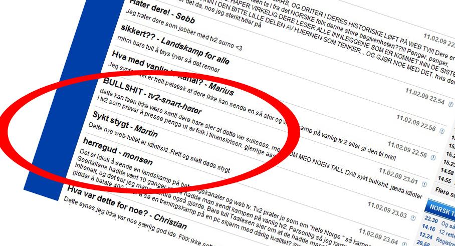 Brukerne av TV2 Sportens kommentarfelt er ved få unntak entydige på hva de mener om TV2s dekning av Tyskland - Norge.
