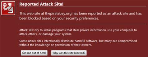 Denne meldingen møtte Google- og Firefox-brukere som søkte etter bestemte områder på Pirate Bay igår.