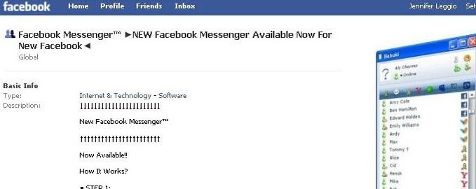 Gruppen reklamerer for et Messenger-produkt som får Facebook-surferen til å tro at det er offisielt og utviklet av Facebook selv.