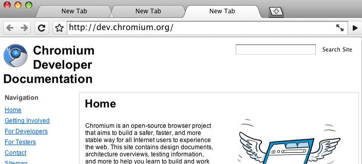 En tidlig versjon av Chrome til Mac.