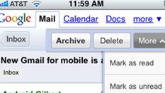 Slik er nettleser-versjonen av Gmail på en iPhone.