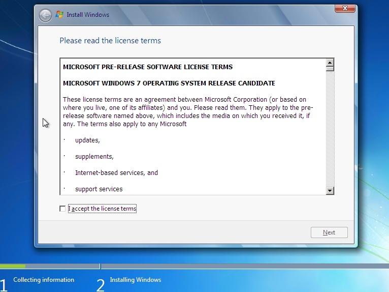 Installasjonen av Windows 7 RC.