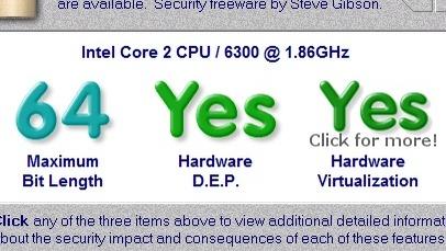 Vår maskin støtter virtualisering  i maskinvaren og vil derfor kunne kjøre XP i Windows 7.