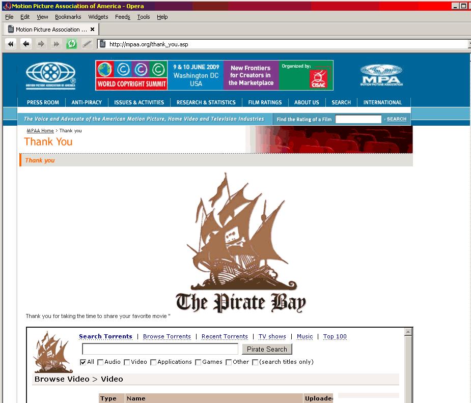 Det var før MPAA.org fjernet sårbarheten mulig å søke etter blant annet piratkopierte filmer via TPB.