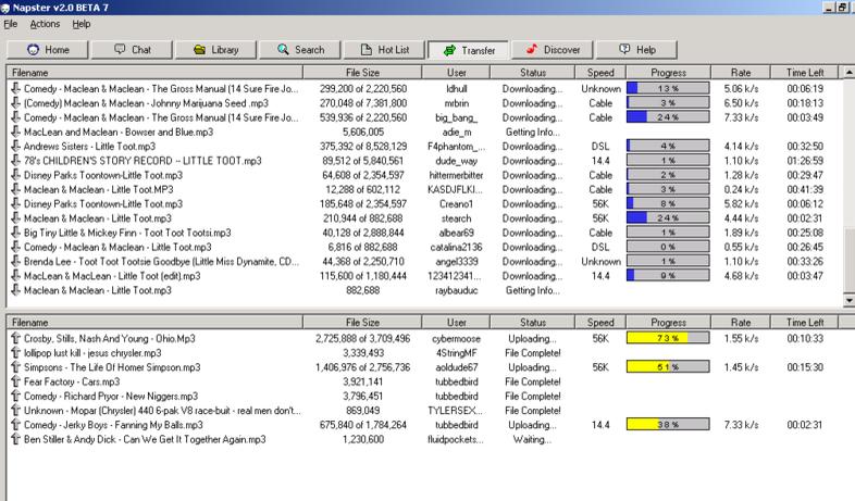 Gamle Napster slik mange kjenner det fra årtusenskiftet. Programmet har måttet vike for en nettbasert tjeneste.