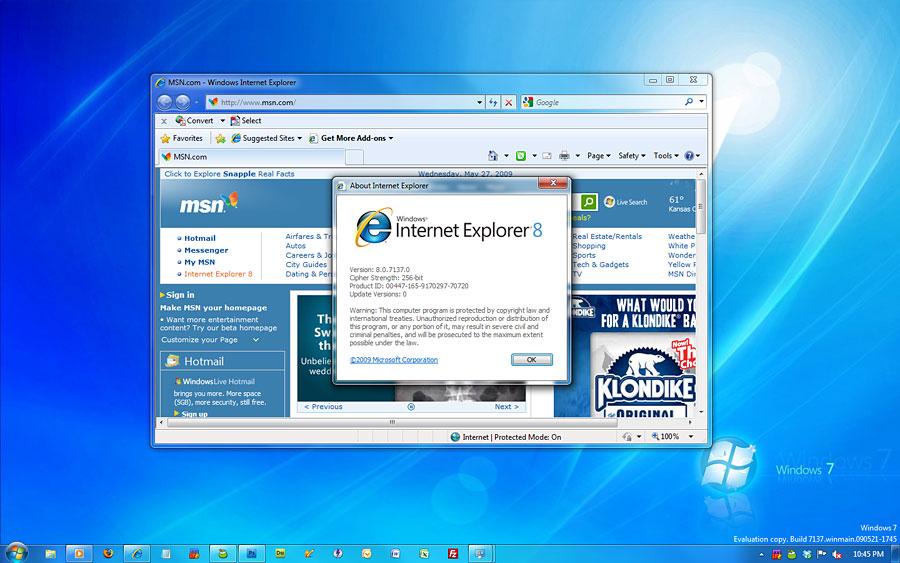 Skjermdump fra den nye lekkede Windows 7-versjonen.