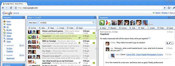 Slik ser Google Wave ut på skjermen. Chatting blir aldri det samme...
