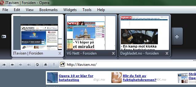 Slik er Visual Tabs i Opera 10.