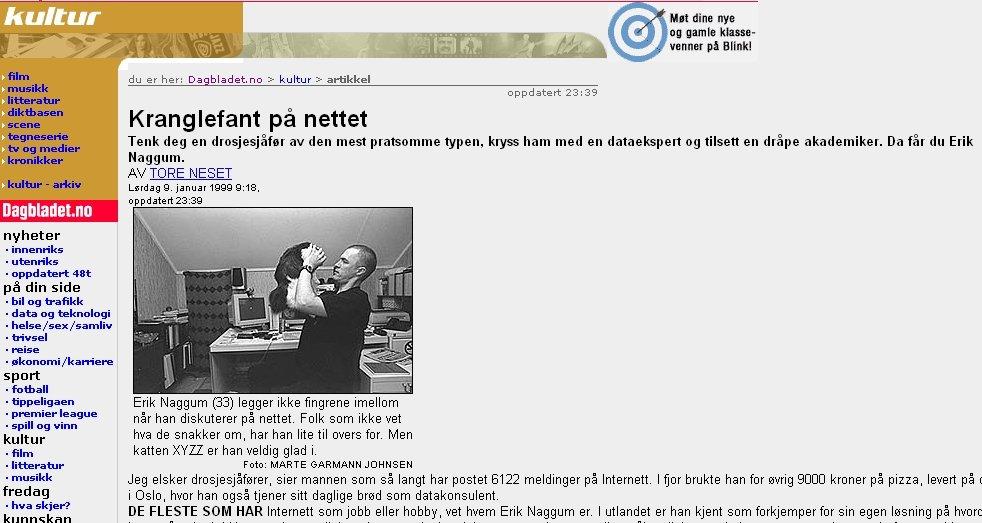 Erik Naggum i et sjeldent intervju i Dagbladet i januar 1999.