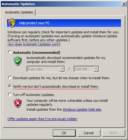 Bruker du maskinen til arbeid som tar mange timer, ofte når du ikke er foran maskinen kan det være smart å velge å laste ned oppdateringer, men ikke installere dem automatisk.