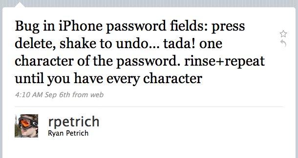 Via Twitter avslørte rpetrich hvor lett det er å se andres passord.