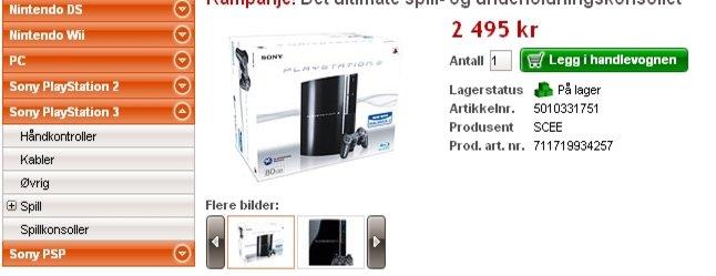 PS3 til langt under norsk markedspris er ett av åpningstilbudene fra den nye nettbutikken Dustinhome.no.