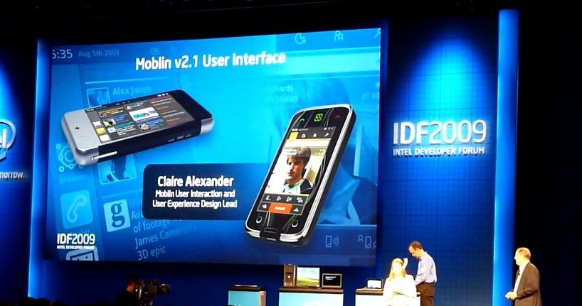 Her er brukergrensesnittet til Moblin 2.1 demonstrert på en MID med Atom CPU.
