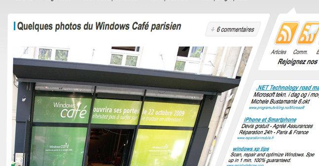 Microsoft måtte forklare seg etter at det franske nettstedet nowhereelse.fr publiserte bilder av det som kommer til å bli verdens første Windows-kafé.
