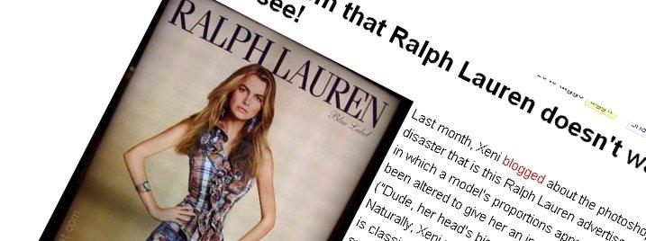 Dette bildet brukte bloggen Boiung Boing som eksempel på en mislykket Photoshop-jobb. Det likte moteselskapet Ralph Lauren dårlig.