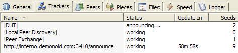 Et skjermbilde fra torrent-programmet uTorrent viser at trackeren er online.