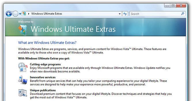 Vista Ultimate Extras ble aldri det store mange Vista-kunder hadde håpet på. I Windows 7 er hele konseptet borte.