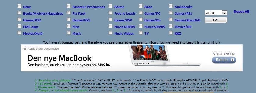 Slik ser Apples annonse ut på det lukkede piratnettverket nordic-t.org.