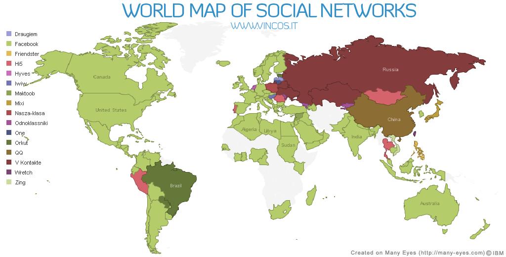 Slik ser verdenskartet over de sosiale nettverkene ut. Som vi ser er Facebook dominerende i USA, Europa (inklusive Norge), Sør- Amerika, Afrika, India, Japan og Australia. Mens det i Kina og Russland er helt andre nettsamfunn som gjelder.