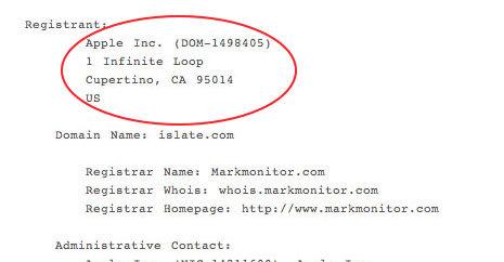 islate.com var først registrert til Apple, men senere har et selskap som holder orden på domener tatt hånd om domenet.