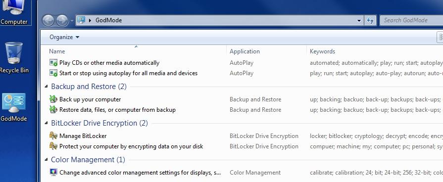 God Mode gir Windows 7-brukere enkel tilgang til 270 innstillinger og verktøy i Windows 7. Husk at du kan søke i God Mode-mappen oppe til høyre.