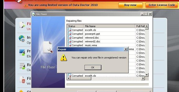 Når trojaneren har tatt over Windows-systemet krypterer den filene dine og krever 500 kroner for å dekryptere dem med Data Doctor 2010.