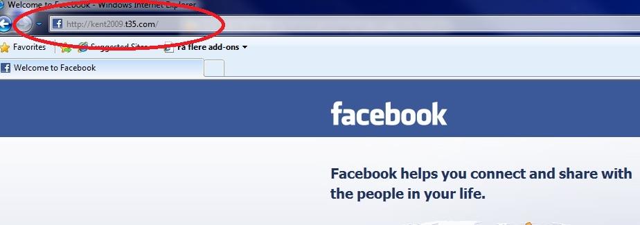 Dette er ikke Facebook, men nettsiden http://kent2009.t35.com/ som er mer eller mindre en ren kopi, men ikke la deg lure.