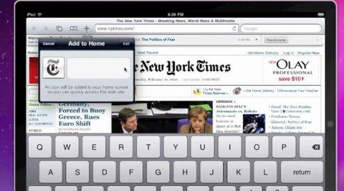 Akkurat som i Safari på iPod og Touch er det mulig å legge snarveier til nettsider direkte på hjerm-skjermen.