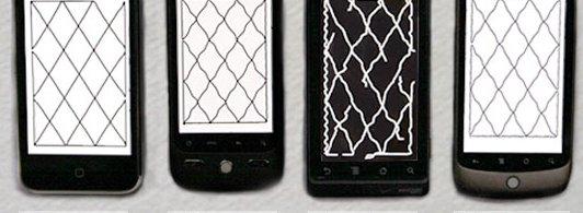 Mønstrene på bildet viser tydelig at Motorolas Droid-telefon er vesentlig dårligere enn de andre. Forskjellen på iPhone og Droid/Nexus er derimot ikke så stor.
