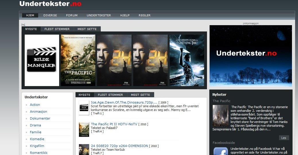 Den norske nettsiden serverer undertekster til populære piratfilmer og TV-serier.