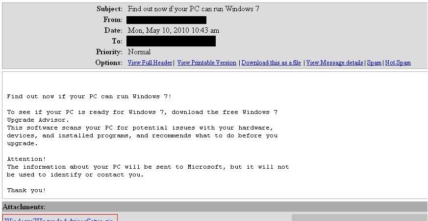 Pass deg for denne eposten som angivelig skal være fra Microsoft. Eposten tipser brukeren om programvare, men er i virkeligheten en trojaner.