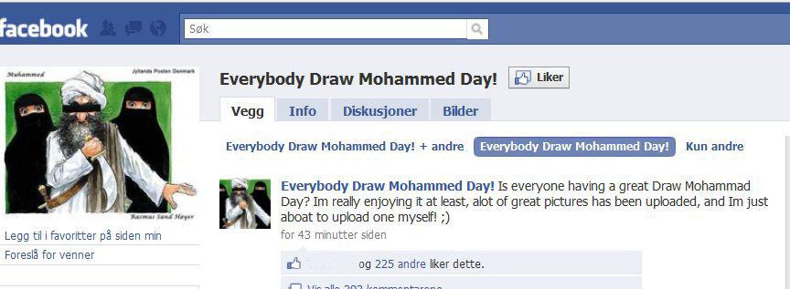 «Everybody Draw Mohammed Day» har i skrivende stund 78 000 medlemmer. I Pakistan er både Facebook og YouTube stengt - etter alt å dømme på grunn av aksjonen.