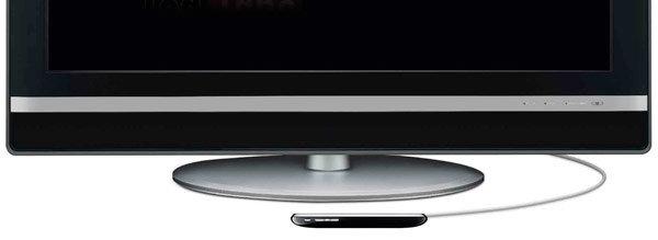 Dette er dagens Apple TV - en liten boks du kobler til TV-en. Nå blir alt dette etter all sannsynlighet integrert i TV-en, styrt av stemme og håndbevegelser.