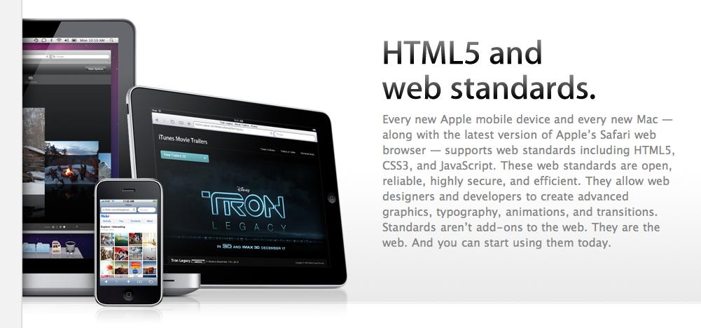 Apple viser stolt frem HTML 5, men krever at du bruker Safari for å se innholdet.