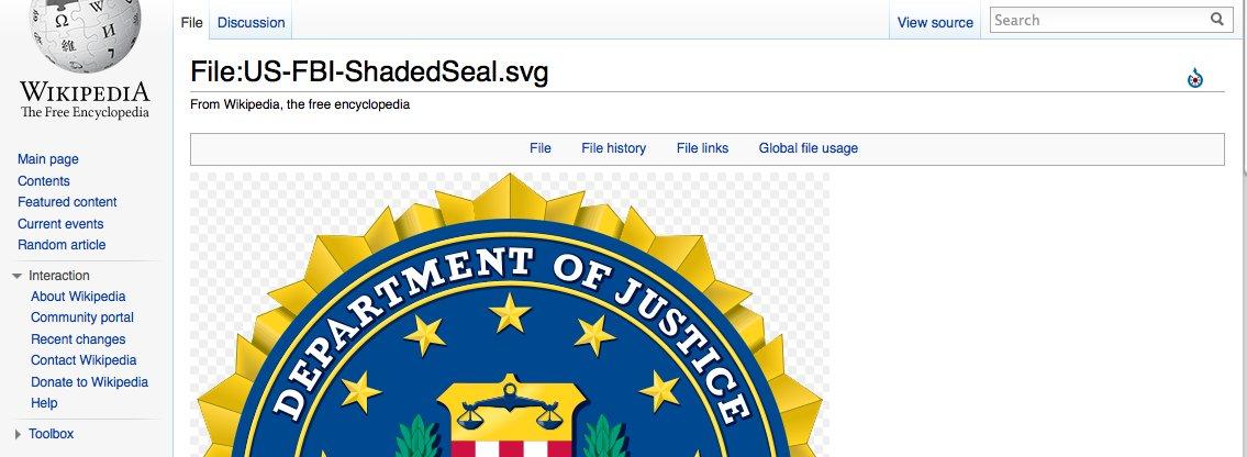 Denne logoen vil FBI at Wikipedia skal fjerne - øyeblikkelig.