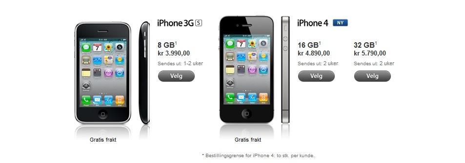 Hvite iPhone 4 glimrer med sitt fravær, også i den norske nettbutikken til Apple.