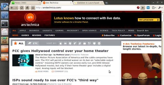 Slik ser Unity-grensesnittet ut i netbook-utgaven av Ubuntu.
