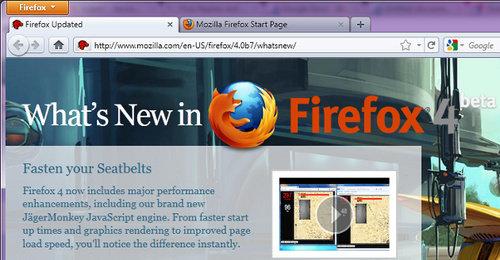 Endelig! Mozilla er ferdig med beta-versjonene av Firefox 4. Beta 7 avbildet.