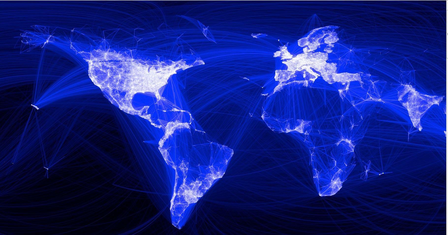 Slik ser det ut når man viser alle forbindelsene mellom 10 millioner Facebook-venner på et kart.