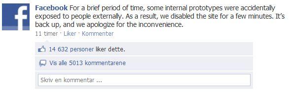 Denne meldingen ble i natt lagt ut på Facebooks egen side.