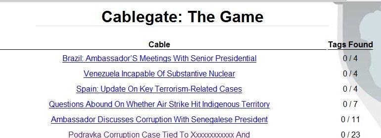Med Cablegate: The Game kan du delta i klassifiseringen og redigering av Wikileaks-lekkasjene.