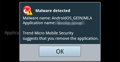 Trends antivirus til Android oppdager trojaneren.