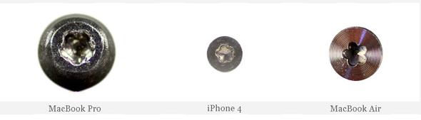 Dette er skruene Apple nå bruker for henholdsvis MacBook Pro, iPhone 4 og MacBook Air.