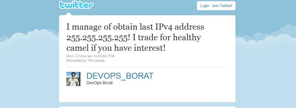 Denne meldingen ligger på Twitter-kontoen @DEVOPS_BORAT.